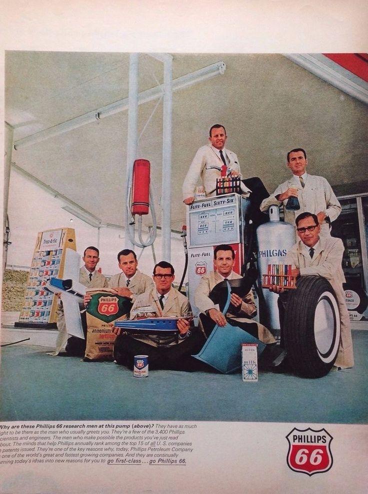 PHILLIPS 66 MOTOR OIL AD RETRO BOWSER GAS STATION 1960s original vintage advert