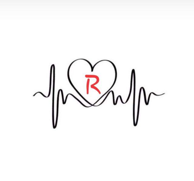 Rodrigo Stylish Alphabets Heartbeat Tattoo Design Letter R Tattoo