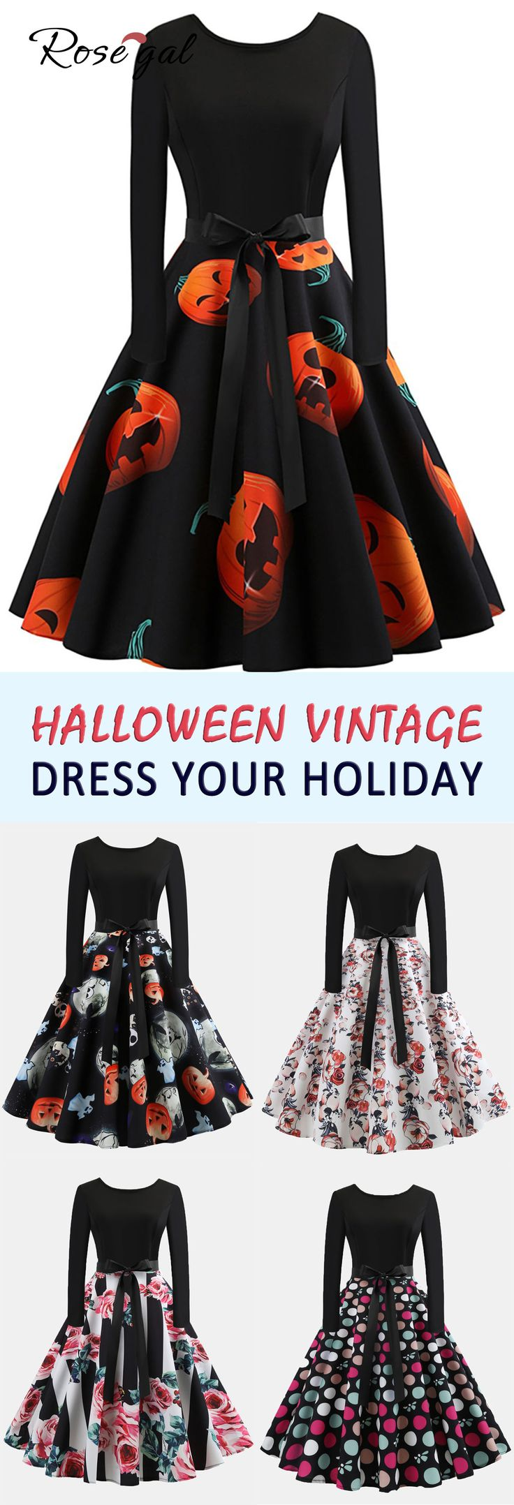 Halloween long sleeves vintage dress