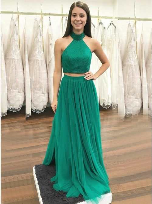 1b03c171865 Two Piece High Neck Floor-Length Green Prom Dress with Beading ...