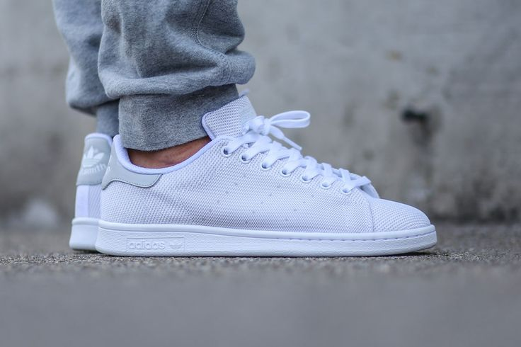 "adidas Originals Stan Smith Weave ""White/Light Solid Grey"" - Tags: sneakers, low-tops, mesh, on feet, joggers"