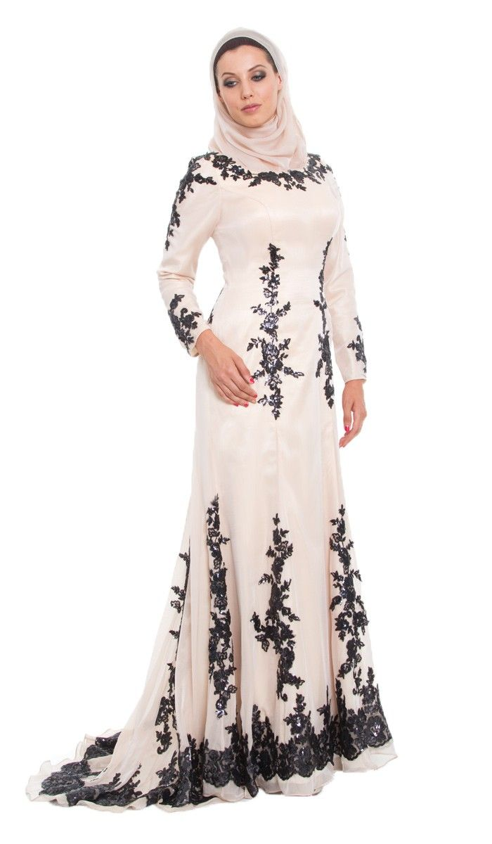 Amira Sequined Silk Blush Beige Formal Long Dress with wrap Hijab
