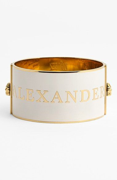 Such a beautiful white and gold Alexander McQueen cuff.