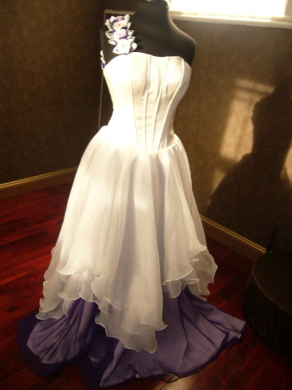 Purple And Ivory Wedding Dresses : Corset fantasy wedding dress in ivory and purple