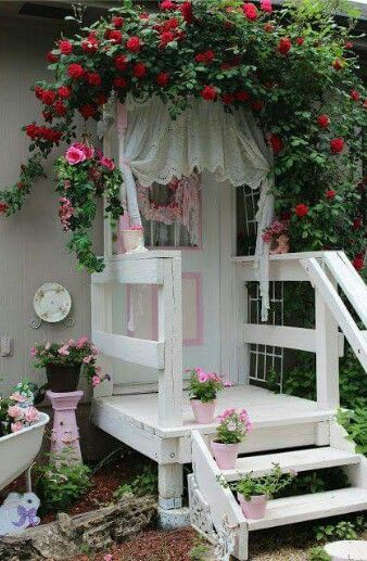 Shabby chic cottage garden back porch walkway