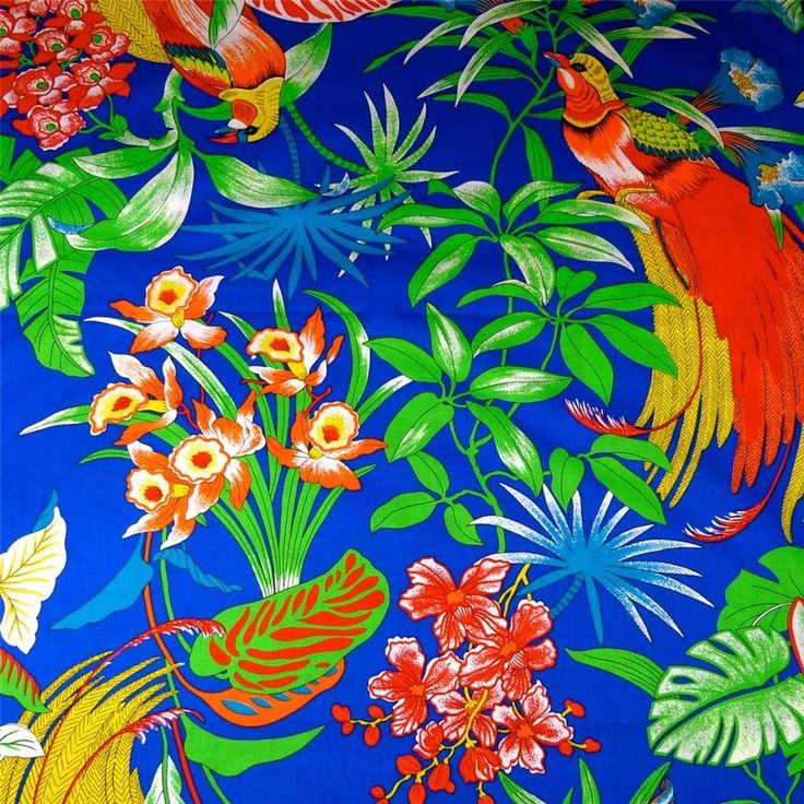 Vintage Hawaiian Print, Cotton, Manu 'Okika, Lau Lau, Blue Background, Per Yd #Unbranded