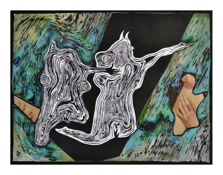 Graphics, coloured linocut - Terezia Rafajova