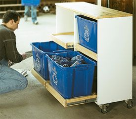 build your own recycle storage with slide-out shelves