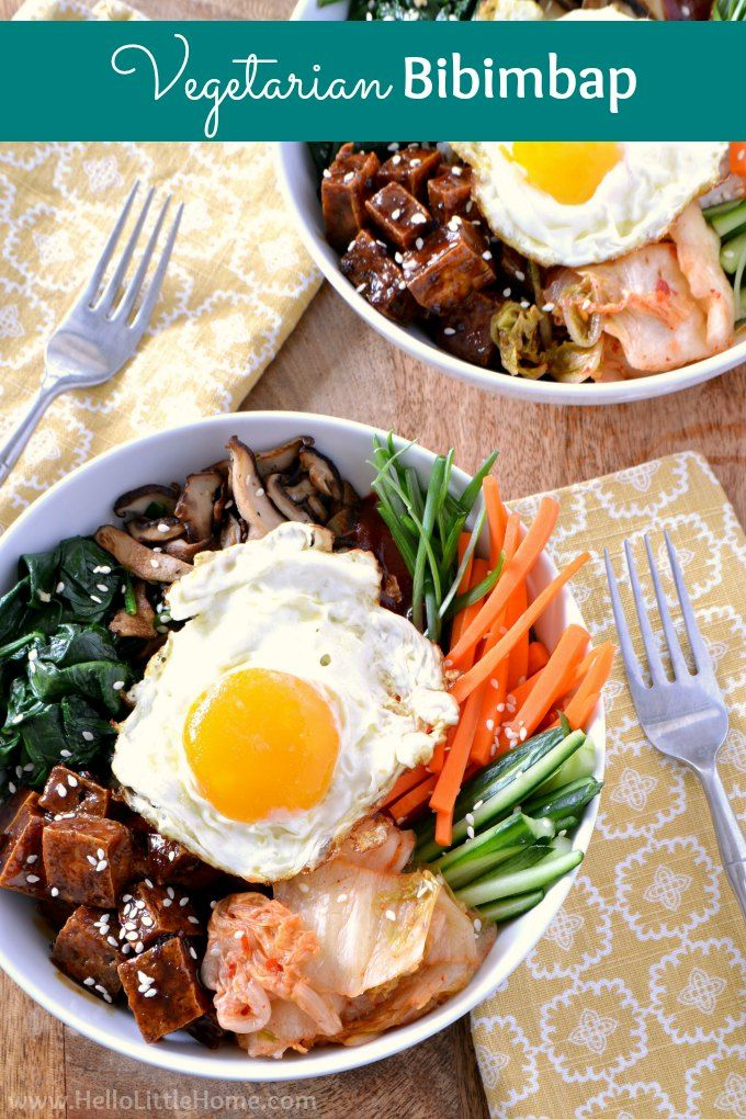 Vegetarian Bibimbap recipe! Learn how to make Bibimbap with this easy recipe … vegan friendly! These Bibimbap Rice Bowls are made with tofu with a mouthwatering Korean BBQ glaze, tons of veggies, kimchi, gochujang sauce, and a fried egg on top. This healthy Bibimbap recipe is full of vegetables, protein, and tons of flavor. Great vegetarian Korean recipe families will love! | Hello Little Home #koreanfood #korean #koreanrecipe #bibimbap #vegetarianbibimbap #vegetarianrecipes #healthyrecipes