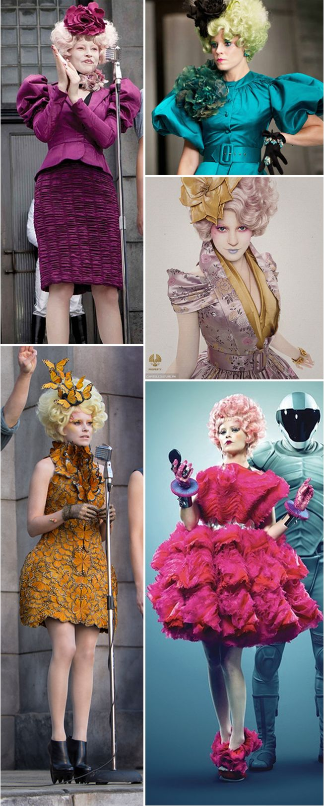 The best of Effie Trinket's outrageously awesome outfits from the Hunger Games and Catching Fire. How fun would it be to dress up in one of these costumes for Halloween?! #CapitolCouture: