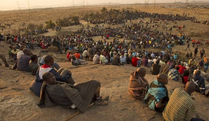 Marikana: A year on | Striking mineworkers stage a sit-in on the Marikana koppie.