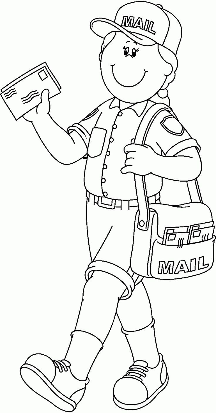 10 Pics of Mailman Community Helper Coloring Pages ... | colouring pages for preschool