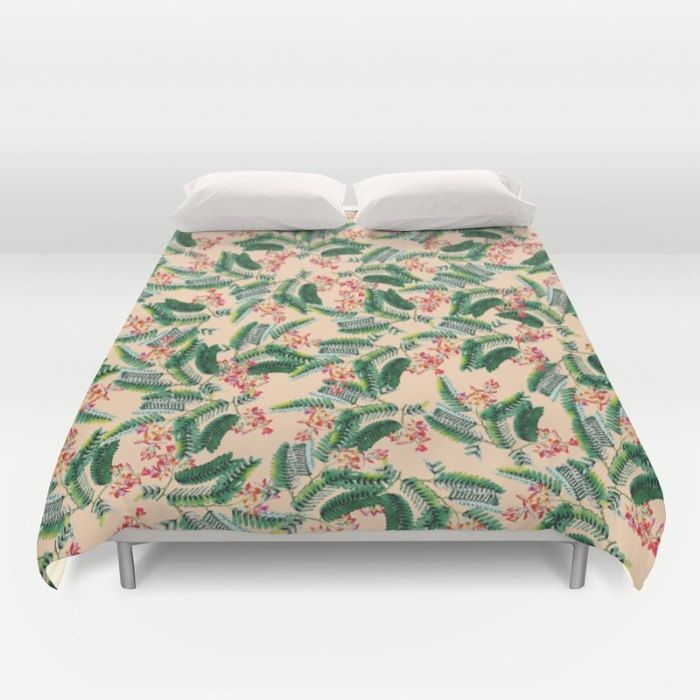 Tropical Duvet Cover, Full Queen King Duvet, Tropical Leaf Pattern, Peach Bed Cover, Modern Bedding, Floral Comforter Cover, Tamarind Flower by OlaHolaHolaBaby on Etsy