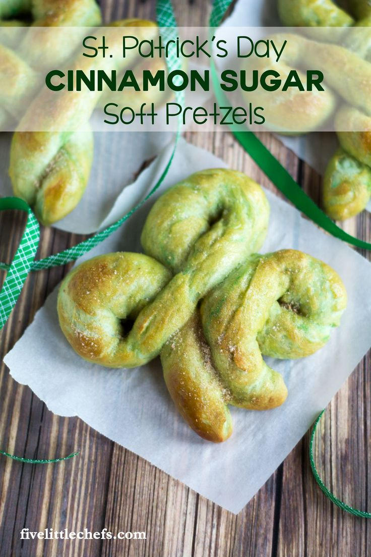 Homemade St. Patrick's Day Cinnamon Sugar Soft Pretzels are a great way to celebrate the holiday. Easy recipe with step by step instructions! Let the kids help or surprise them with this after school snack!