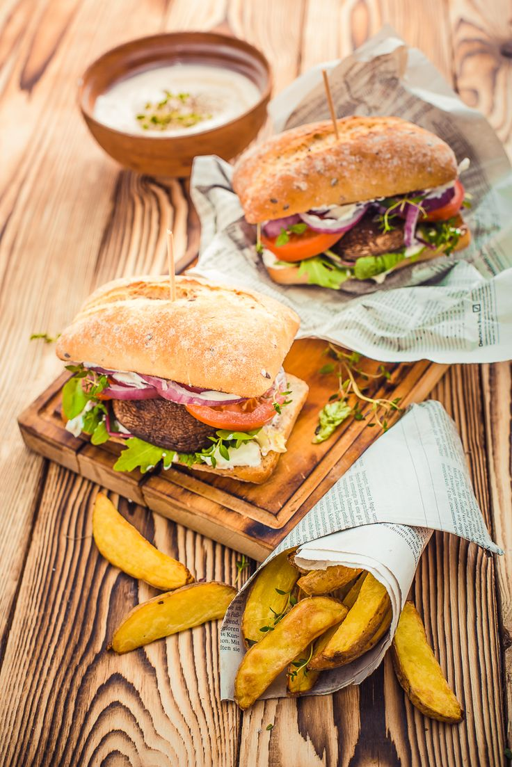 How to make a perfect vegetarian burger. Food photography. Healthy food recipe. Potato fries.