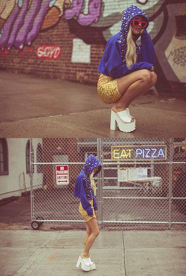 Nylon Shop Monster Hoodie, Our Prince Of Peace Fries Dress, Yru White Platforms - I HATE BLONDE X NYLON  - Rachel Lynch