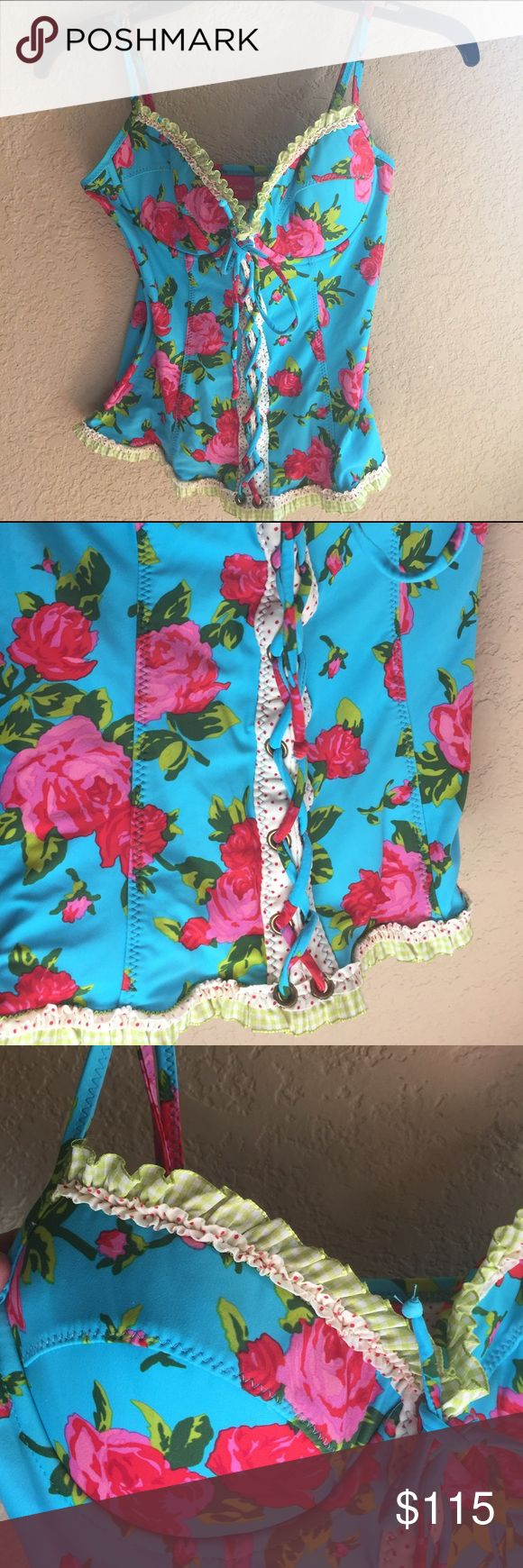 RARE vintage formed Betsie Johnson corset tankini Good condition. Top only Betsey Johnson Swim Bikinis