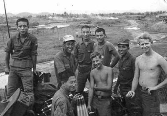 ROK Tiger Division, A-Battery, 10th Artillery Battalion, posing at their tactical base at Dong Xuan, southwest of Qui Nhon, with a few Yanks in 1970.