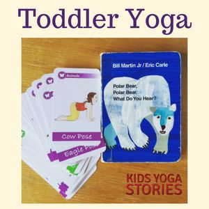 Act out Polar Bear Polar Bear, What Do You Hear? book by Bill Martin Jr and Eric Carle through simple toddler yoga poses for kids!