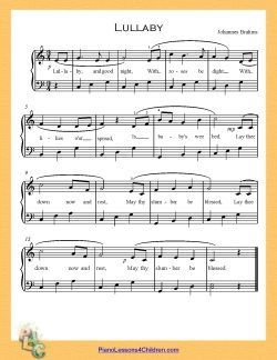 Lullaby and Goodnight (Brahm's Lullaby) - lyrics, videos & free sheet music for piano