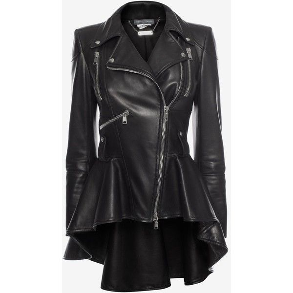Alexander McQueen Leather Biker Jacket ($4,875) ❤ liked on Polyvore featuring outerwear, jackets, black, lapel leather jacket, real leather jackets, multi pocket jacket, motorcycle jacket and leather moto jackets