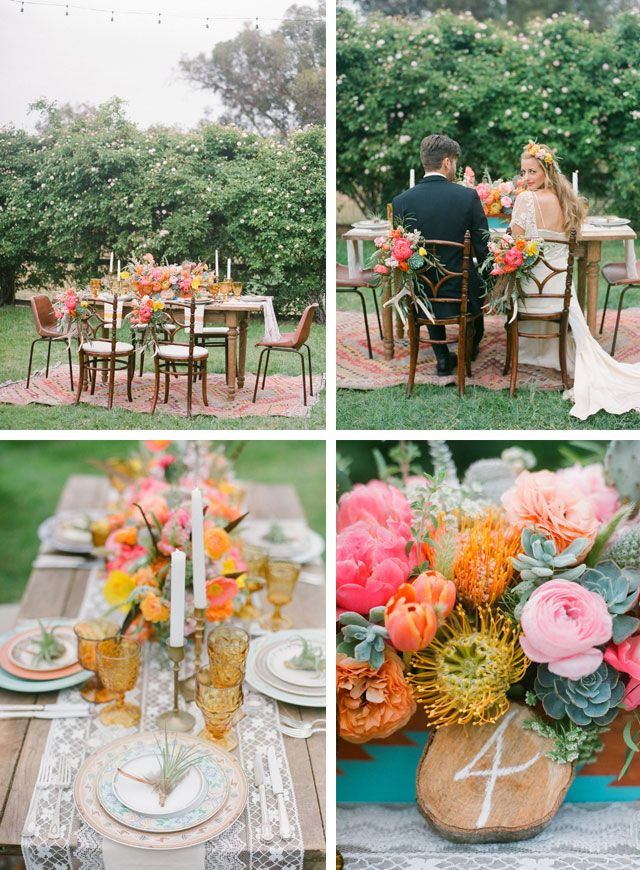 Southwestern-Inspired Wedding Shoot #tablesetting #centerpiece #southwesterncolors