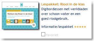 tool voorbeeld Lespakket: Riool in de klas: digibordlessen met werkbladen over schoon water en een goed rioolgebruik.
