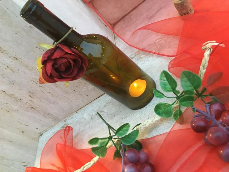 Wedding Red & White - Candle in a botte