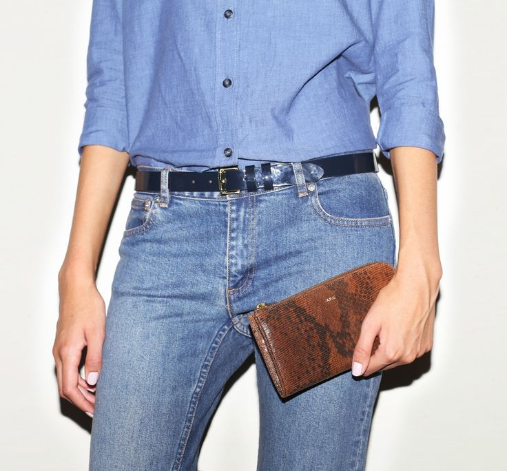 February 2014: A.P.C. Eleonore Chambray Shirt in Bleu Fonce. A.P.C. Patent Belt in Dark Navy. A.P.C. Jean Court in Indigo. A.P.C. Python Print Zip Wallet in Beige.