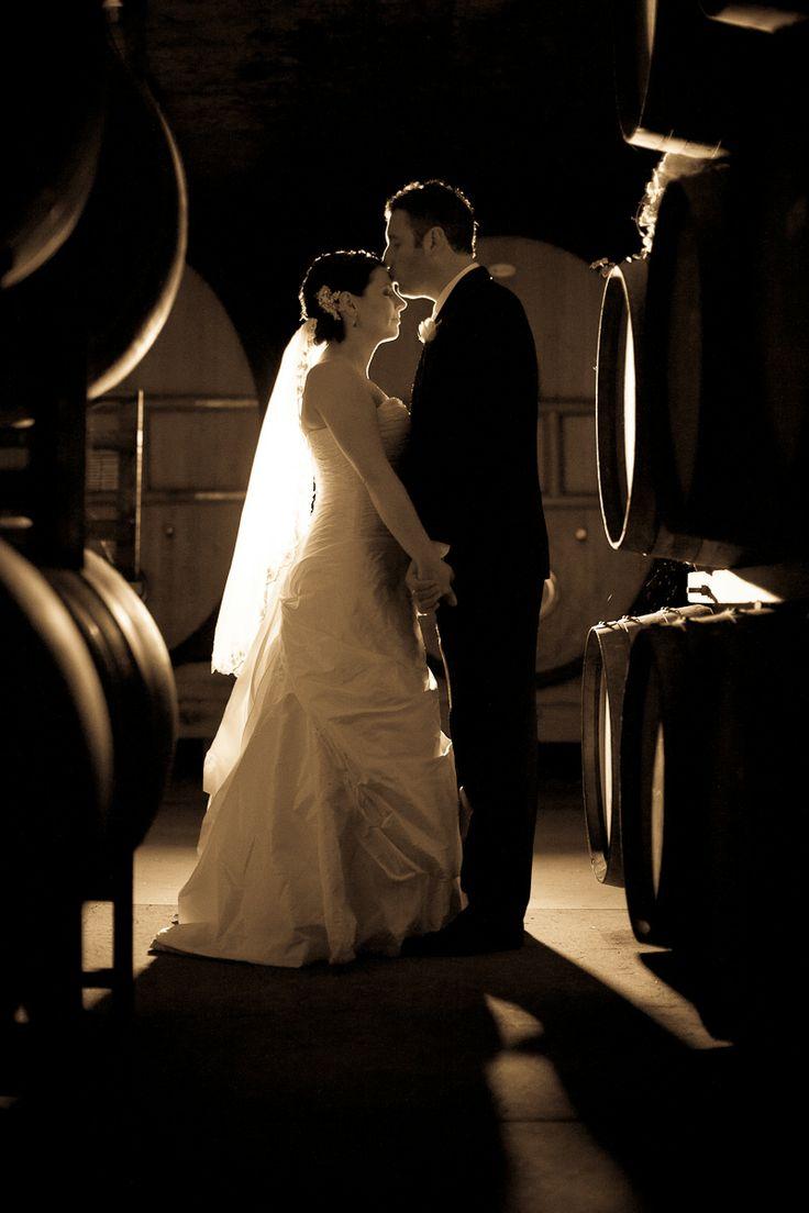 Barrel Room Romance #winery #wedding