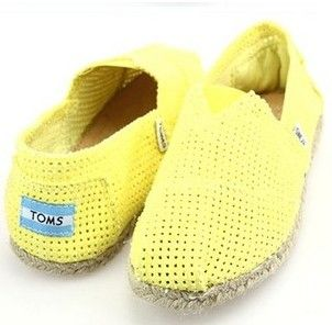 Cheap Toms Yellow Hollow Shoes on sale