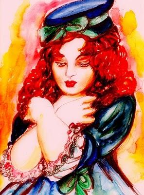 """""""Scena n. 11. Stupide illusioni"""".  A piccoli passi, in una luce morbida e calda, con un paio di scarpine celesti, giunge sul palcoscenico una bambola dal largo vestito di pizzo, un delizioso cappellino, il viso di meravigliosa porcellana, con grandi occhi brillanti e labbra rosse; si ferma al centro della scena, accenna un saluto, resta immobile e in silenzio per un attimo, poi dice: ero stata abbandonata.... (di Bruno Magnolfi - Acquerello di Giulia Tesoro)."""