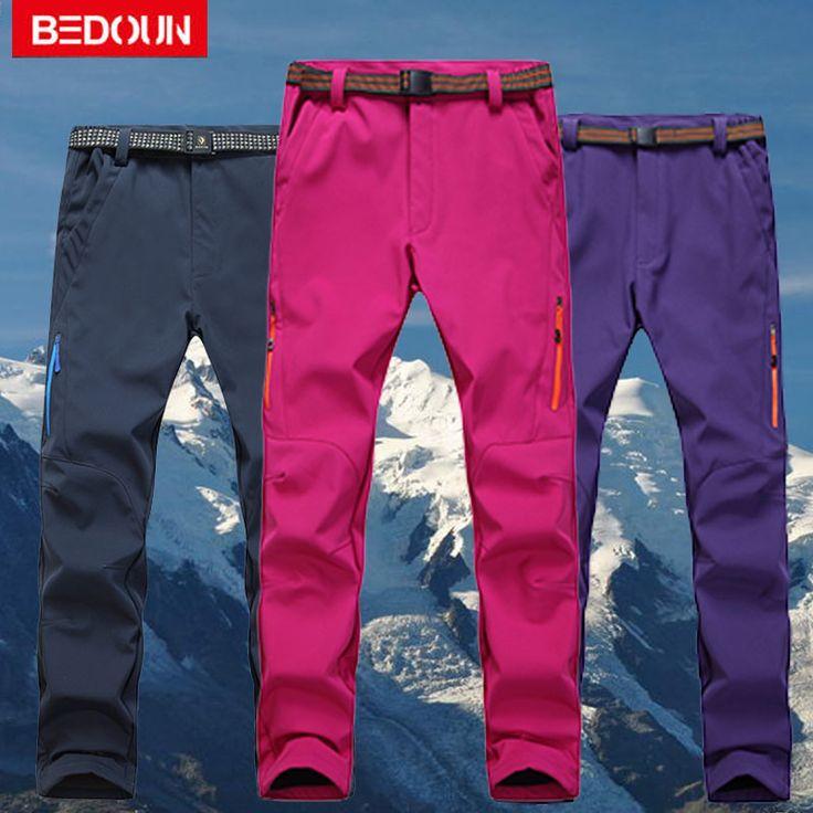 Snow Ski Pants Winter Warm Waterproof Men Women Polartec Hiking Windproof Fleece Thermal Snowboard Pants Femme Trousers