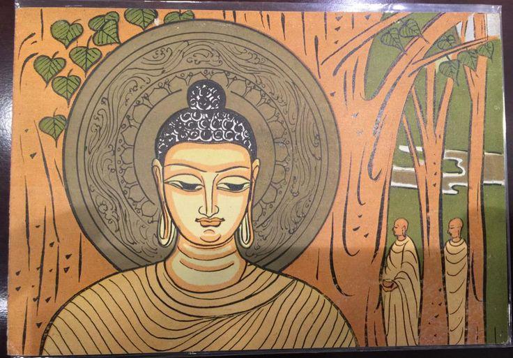1956: Beautiful folder released by the Indian postal department in 1956 on 2500 years of Gautam Buddha's Mahaparinirvana.