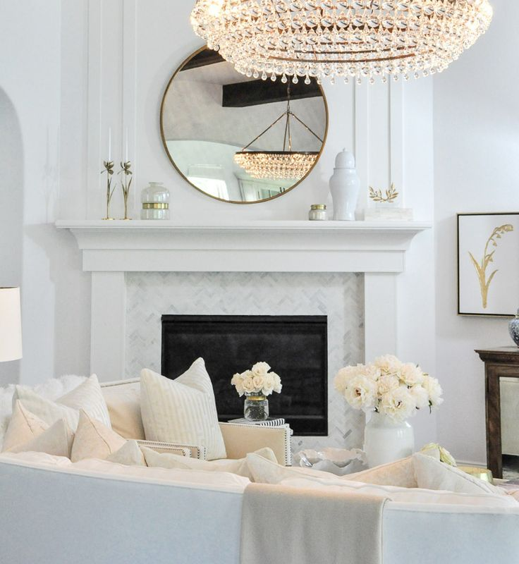Home Tour White Fireplace Surround Living Room Draperies White