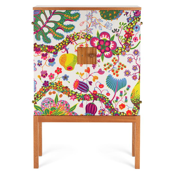 "Innnteresting: Cabinet 522 Textile Mahogany, by Josef Frank. ""The cupboard is made of mahogany & covered with one of the Celotocaulis textiles, Brown Miracle or Brazil."""