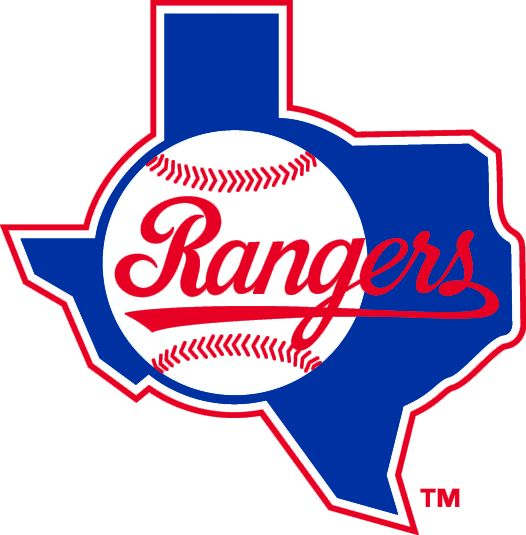 Texas Rangers Primary Logo (1984) - Rangers script in red coming out of baseball on blue Texas