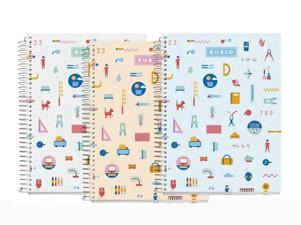 Libretas personalizadas con ilustraciones para tomar apuntes, escribir tus recuerdos, hacer cuentas o dibujar. Cuaderno con espiral y rayado cuadrícula 4 mm.
