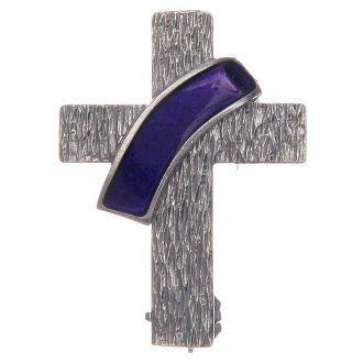 Broche cruz diaconal plata 925 esmalte morado | venta online en HOLYART
