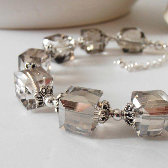 Gray Crystal Bridesmaid Bracelets Crystal Cube by FiveLittleGems, $21.00