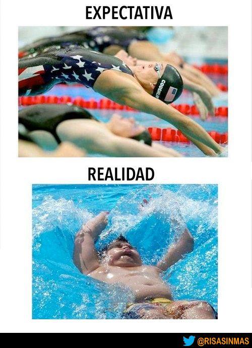 Expectativa vs Realidad: salto a la piscina.