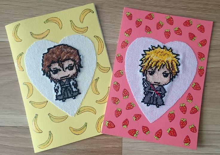 Aizen i Ichigo z mangi BLEACH, handmade postcards, cross stitch, haft krzyżykowy