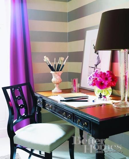 Like the idea of a silver and white striped wall for an office. And with some fuchsia curtains, ooh-whee