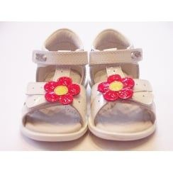 Isa LK9660 Girls White Patent Leather Sandal With Flower