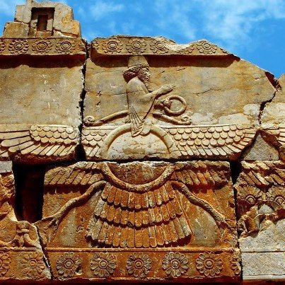 Faravahar, Iran. Faravahar relief at Persepolis. / Faravahar is one of the best-known symbols of Zoroastrianism, the state religion of ancient Iran. In present-day Zoroastrianism, the faravahar is said to be a reminder of one's purpose in life, which is to live in such a way that the soul progresses towards frasho-kereti, or union with Ahura Mazda, the supreme divinity in Zoroastrianism.
