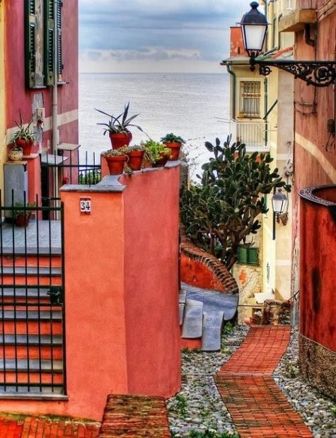 Exotic Places and Spaces / Genoa, ItalyOrange, Coral, Paths, Colors, Exotic Places, Travel, Italy, Dark Wall, The Sea