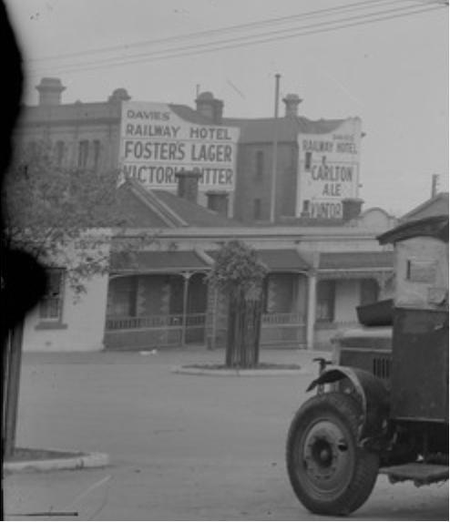 USED // History courses through the veins of our favourite local, once the site 'Davies Railway Hotel'. Residents of the area would meet on a Wednesday afternoon, the same way we like to, and talk about local politics, sport and what's for dinner. Here's a picture of Davie's Railway Hotel circa 1935.       Railway Hotel Bay street North Brighton 1935.jpg