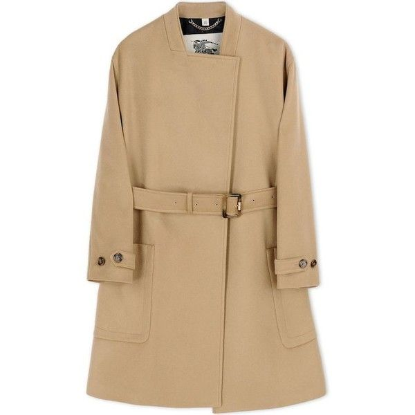 Burberry London Wool-Blend Coat found on Polyvore featuring outerwear, coats, coats & jackets, coats/trench, brown, trench coat, burberry, brown trench coat, camel coat and brown coat