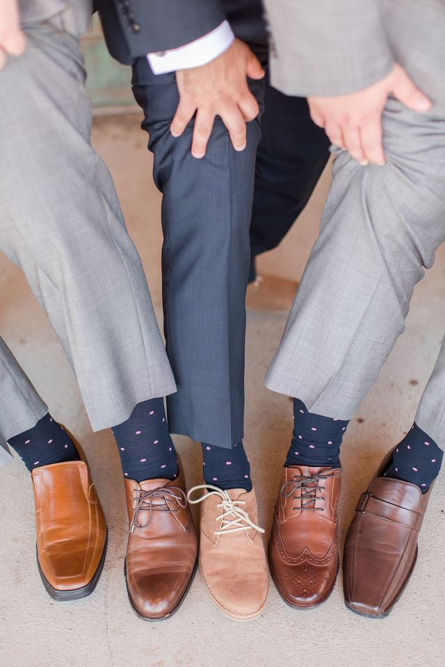 Navy & blush Groomsmen printed socks