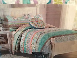 nib cynthia rowley payton pattern burst aqua twin quilt bedding set - Twin Quilts